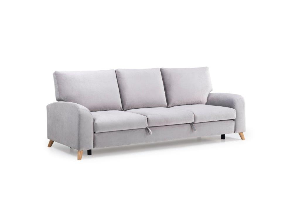 MERLIN SLEEPING 3 seater (TRENTO 3.1 light grey) side softnord soft nord scandinavian style furniture modern interior design sofa bed chair pouf upholstery