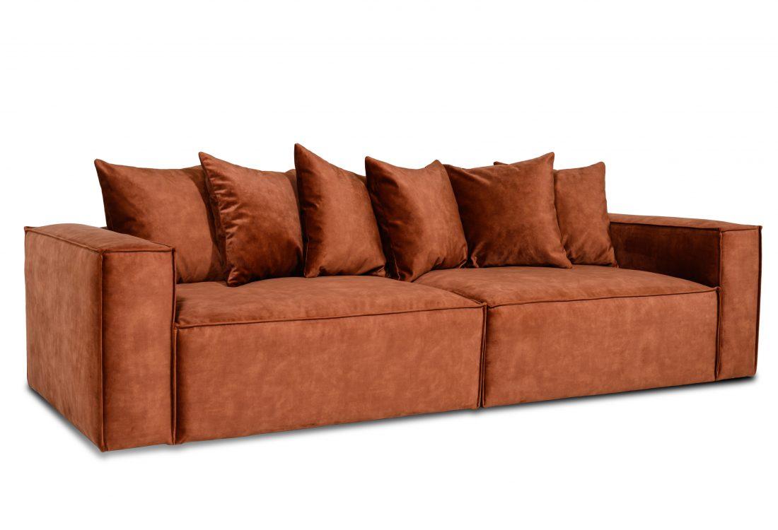 DIESEL 3 seater (1,5+1,5) scatter cushions (FUJI 20.2 dark orange) side