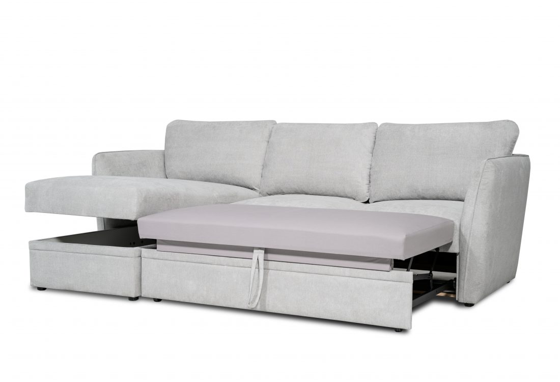 ETNA SLEEPING chaiselongue with 2 seater arm A (ORINOCO 22.1 light silver) side open