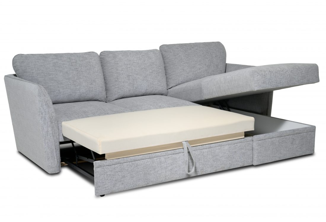 ETNA chaiselongue with 2 seater (WAY 3.1 light grey) storage open