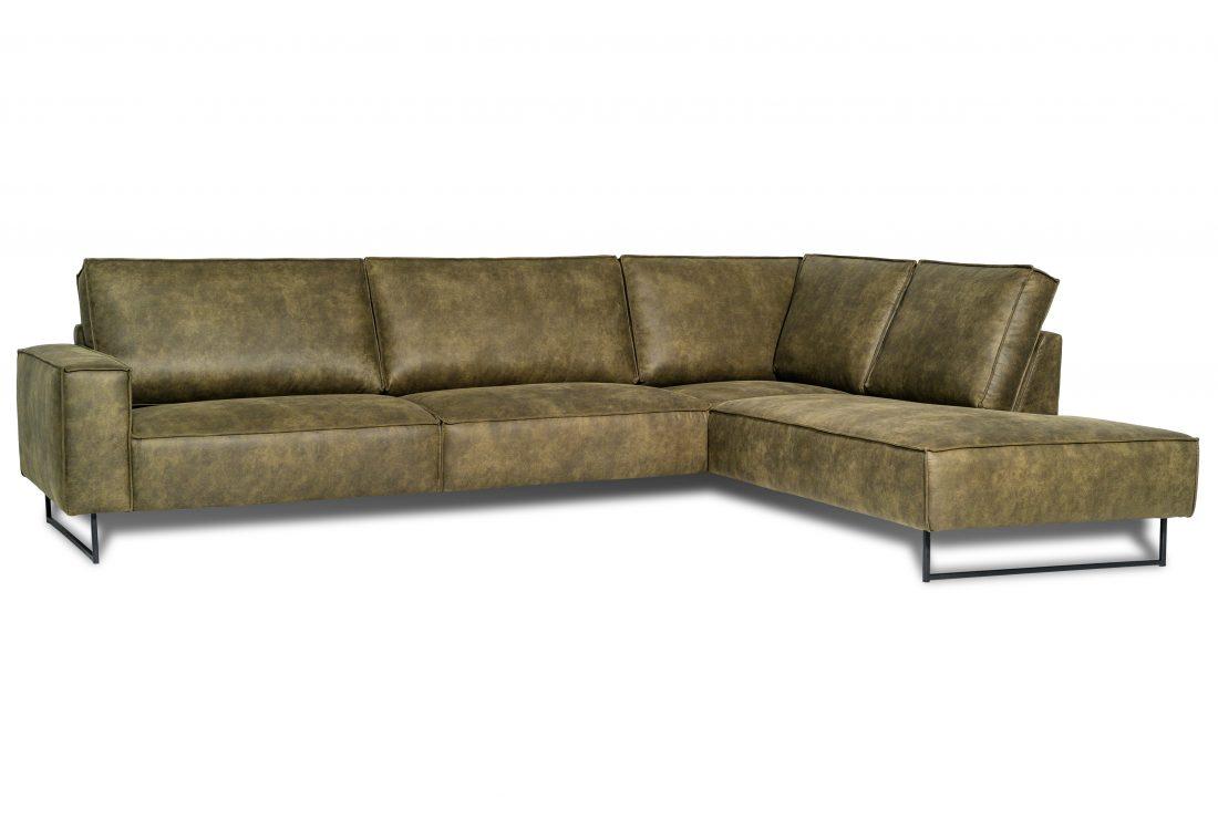 GENT open corner with 3 seater slide leg (PRESTON 38 olive) side