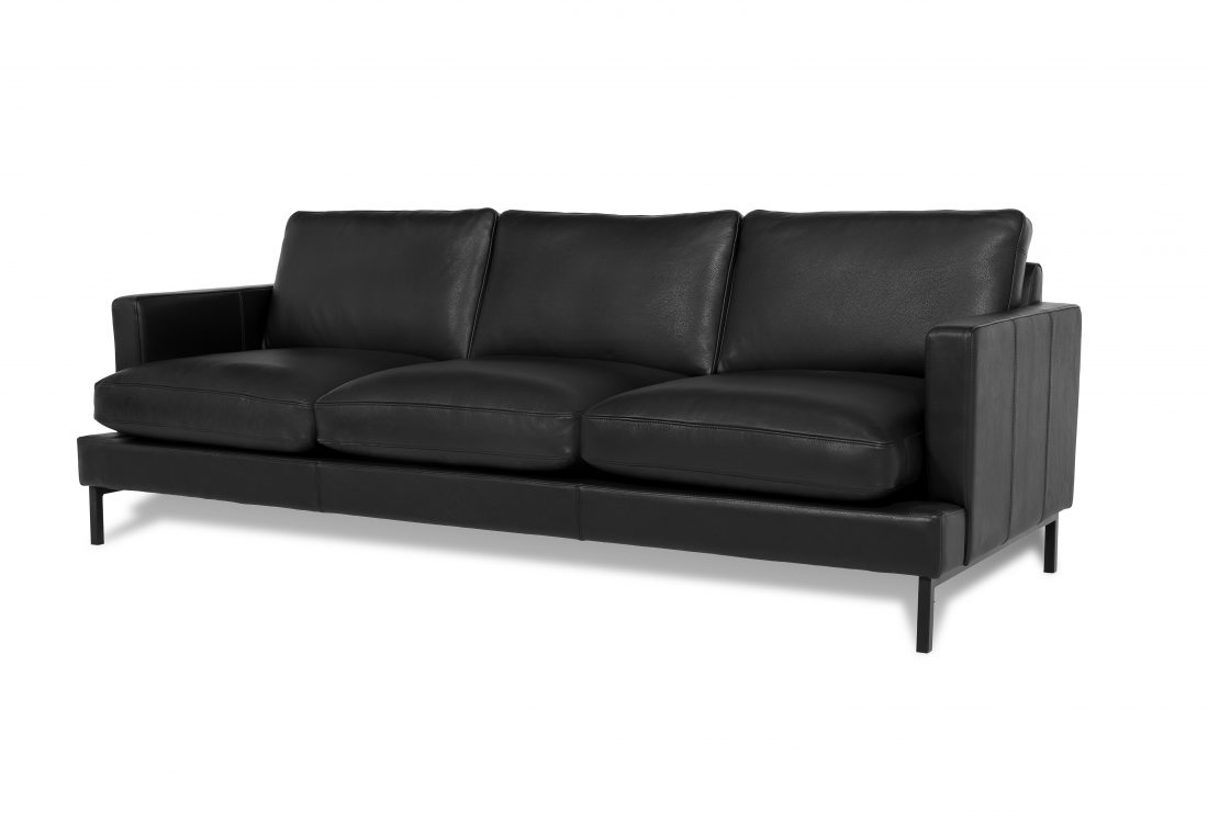 KVILLE 3 seater with 3 sitting cushions (SEVILLA leather black) side